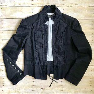 Zara Linen Ruffled Cropped Jacket Blazer Navy XL